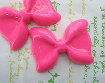 SALE Large Simple Bow 2pcs Hot Pink 54mm x 41mm