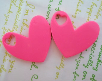 SALE Big Plain Heart pendant 2pcs ( heart shaped hole) Hot Pink 40mm x 37mm