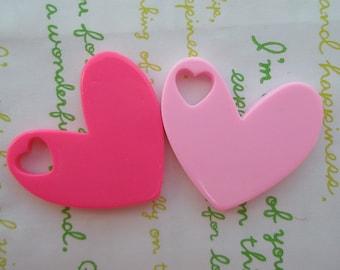 SALE Big Plain Heart pendant 2pcs ( heart shaped hole) 2 colors Pink tones 40mm x 37mm