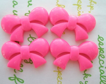 Round Tied bow cabochons 4pcs  Hot Pink  25mm x 16mm