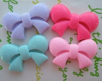 Round Tied bow cabochons 4pcs MIX  25mm x 16mm
