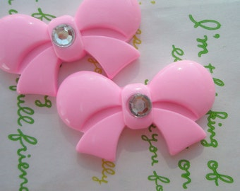 sale Round Tied bow with rhinestone cabochons 2pcs  42mm x 25mm Pink