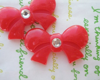 sale Round Tied bow with rhinestone cabochons 2pcs  42mm x 25mm Red