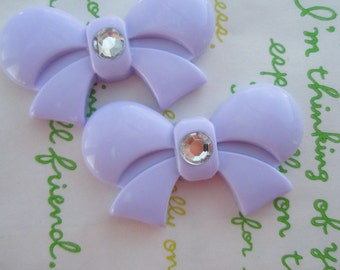 sale Round Tied bow with rhinestone cabochons 2pcs  42mm x 25mm Lavender