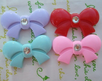 Round Tied bow with rhinestone cabochons 4pcs  42mm x 25mm MIX