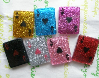 Resin play cards cabochons ( Ace ) 7pcs GLITTER