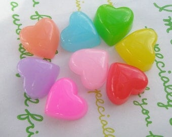 Small Jelly Heart cabochons 8pcs