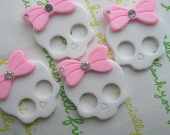 SALE Skull with bow and rhinestone 4pcs WHITE with Light pink bow (Flat type)