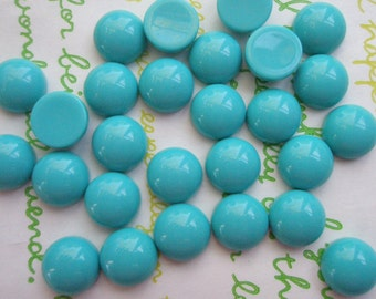 SALE Opaque Resin Dome Cabochons 10.5mm 20pcs Sea Green ( Teal )