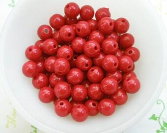 PLAIN acrylic Beads 25pcs Size 10mm Bloody Red