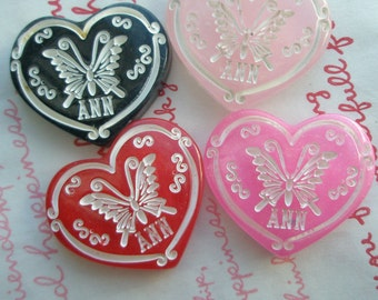 Dollar Sale ANN Butterfly on Glitter Heart Cabochons Set 4pcs Chunky Solid B 4 colors