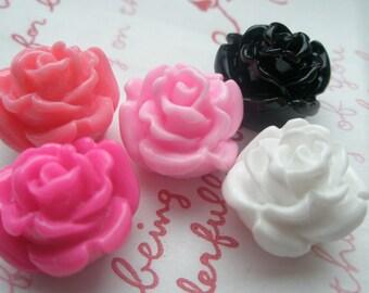 sale Thick Rose bud cabochons 5 colors 5pcs 16mm Set C