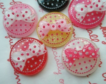 CLEAR GLITTER polka dots disc cabochons Bow on top 6pcs 21mm