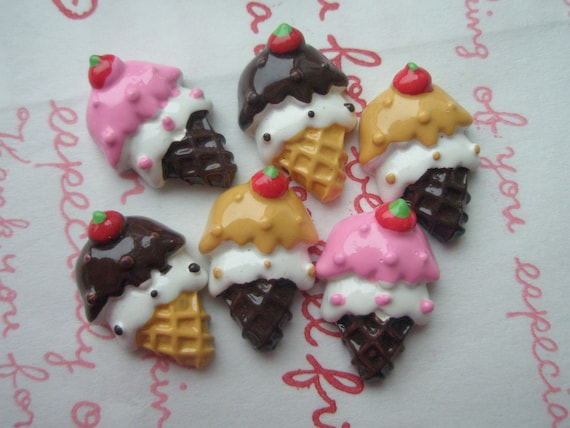 Small Ice cream cone cabochons 6pcs C Dark brown Pink 2 colors