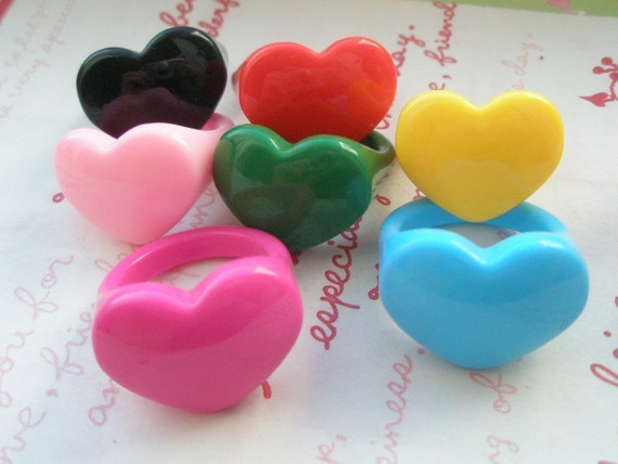 Plastic Heart Ring Base NON Adjustable CHOOSE 4 RINGS OF YOUR CHOICE