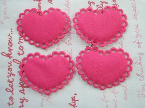 Flat Lacey Heart shaped  Appliques 6pcs Plain Hot pink