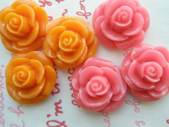 SALE ME--8 High Quality Round Rose cabochons MIX 6pcs Orange Pink