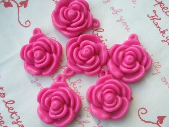 HOT PINK Rose charms beads pendants 6pcs 22mm