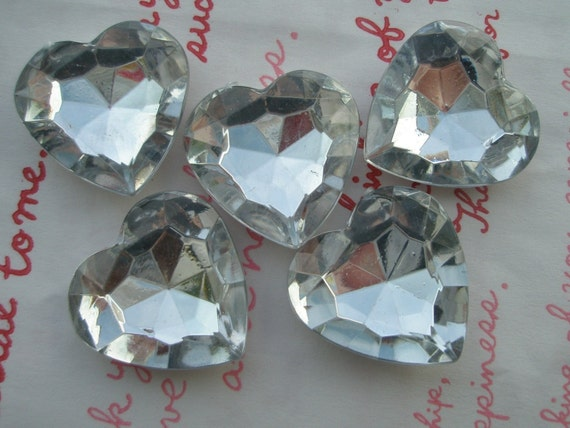 SALE Big CHUNKY Clear CLEAR faceted Heart shaped gems 25mm 5pcs