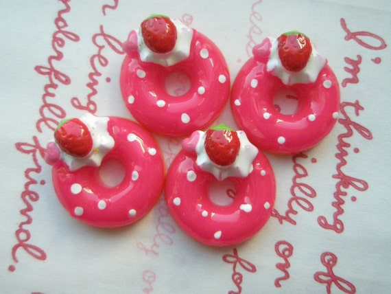 SALE Dark Pink  Doughnut cabochons 4pcs ( Cream Strawberry topping )