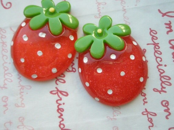 Cute Round LARGE Strawberry cabochons 2pcs RED