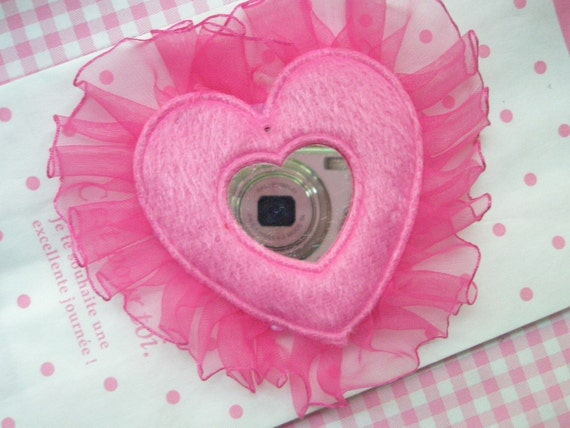 HUGE  Heart  MIRROR with lace edge Applique 1pc