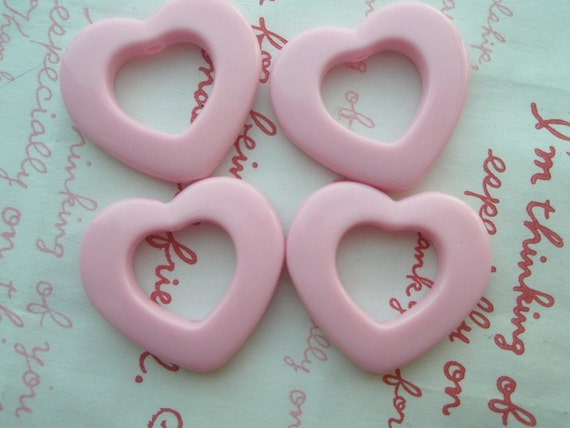 Open Heart  beads 4pcs Light Pink