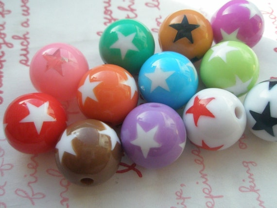Big round Resin Beads with STAR prints 8pcs 16mm ASSORTED COLORS