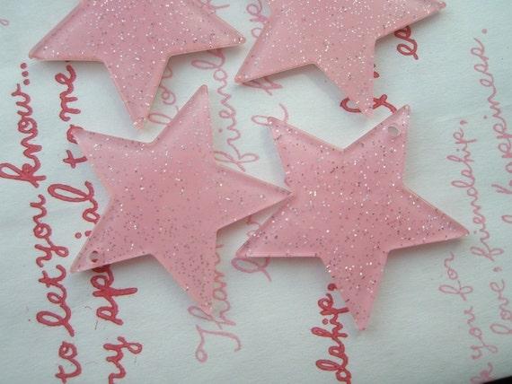 High Quality Big Glitter Star charms 4pcs Light Pink