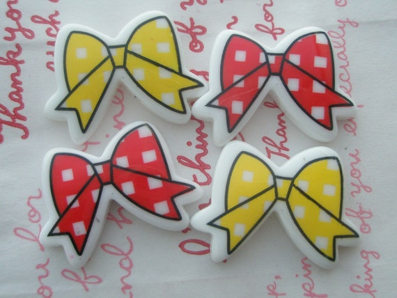 sale Gingham check Butterfly Bow cabochons MIX Set 4pcs