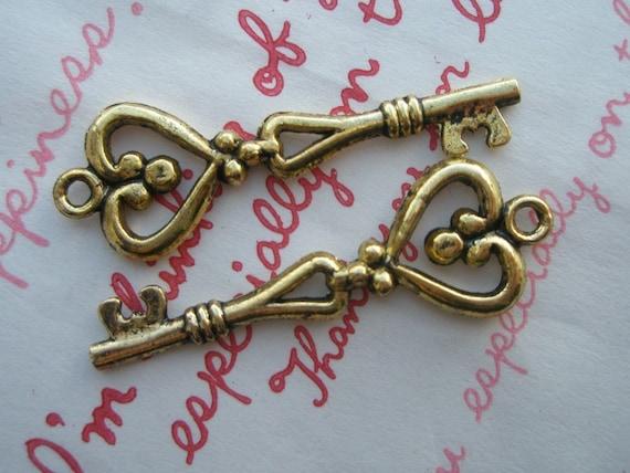 Dollar SALE Brass Heart shaped Key charms pendants 2pcs Color Antique Gold