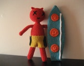 Devil Surfer Boy, Amigurumi Doll