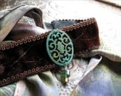 Brown Velvet Choker or Bandeau Headband with Verdigris Filigree