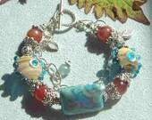Gemstone Lampwork and Silver Bracelet