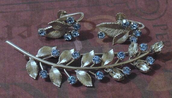 Krementz Blue and Diamante Rhinestones Leaf Brooch Earring Set
