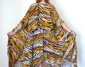Vintage 80s Wild FRINGED TIGER Print Duster Dress M L