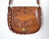 Vintage 70s Brown TOOLED LEATHER Hippie Purse