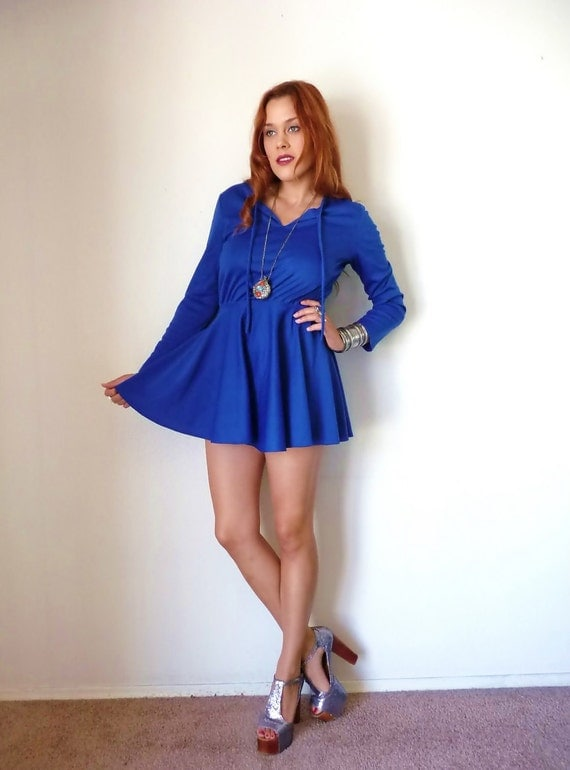 Vintage 70s Royal Blue Flared Babydoll Mini By