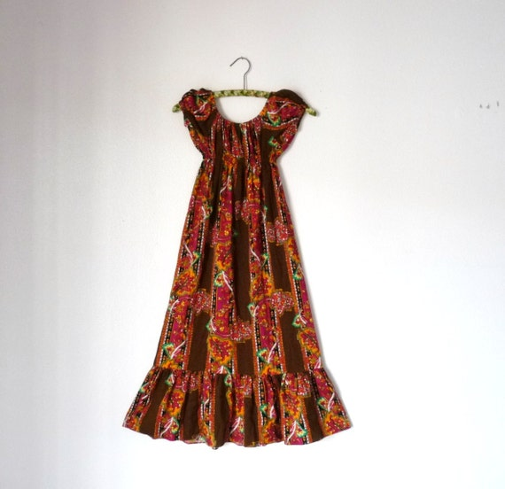Vintage 60s Girls PSYCHEDELIC PEASANT Puff Sleeve Dress  8 10