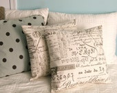 French Script Pillow Covers 14x14 or 16x16 Set of 2