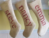 Custom Personalized Burlap Christmas Holiday Stockings