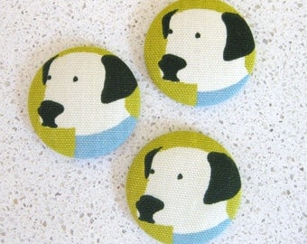 Dalmation Fabric Covered Buttons Blue 1 7/8 inch Set of 3
