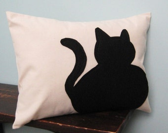 Black Fat Cat Silhouette Pillow Cover