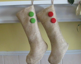 Burlap Christmas Holiday Stocking with Your Choice of Covered Buttons