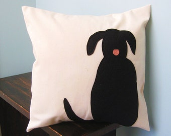 Black Dog Silhouette Pillow Cover