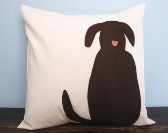 Brown Dog Silhouette Pillow Cover