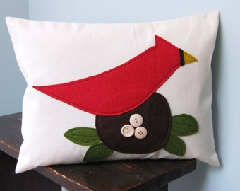 Cardinal with her Eggs Pillow Cover