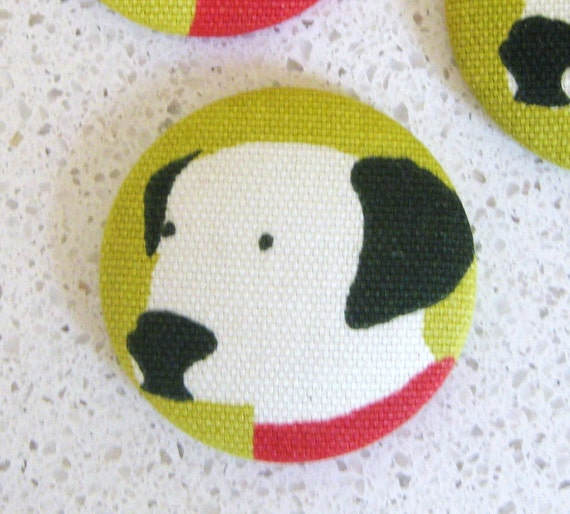 Dalmation Covered Buttons Red 1 7/8 inch Set of 3
