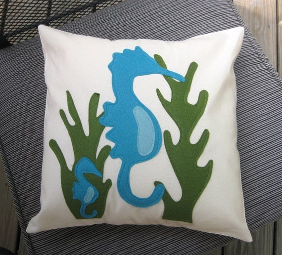 Blue Seahorse with Baby Pillow Cover