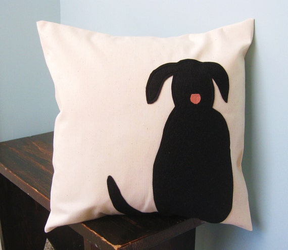 Black Dog Silhouette Pillow Cover by DesignsByNancyT on Etsy